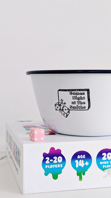 Games Night - Engraved Enamel Snack Bowl - One Mama One Shed