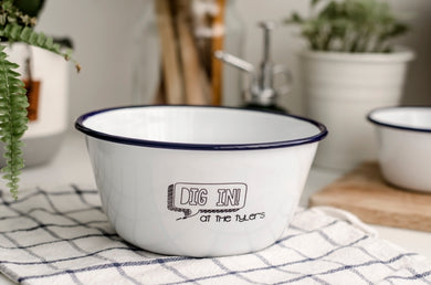 Dig In - Engraved Enamel Snack Bowl - One Mama One Shed