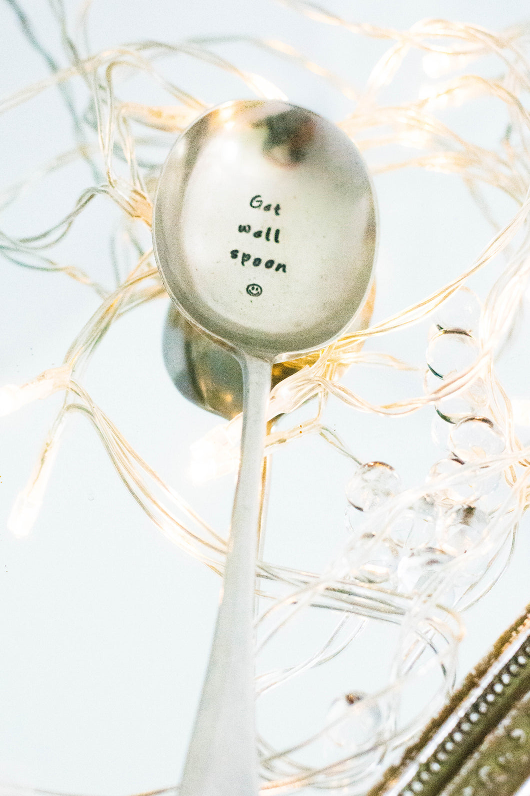 Get Well Spoon - Hand Stamped Engraved Spoon - Vintage Soup Spoon - One Mama One Shed