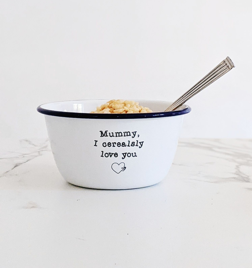 Personalised I Cerealsly Love You - Engraved Enamel Breakfast Bowl - One Mama One Shed