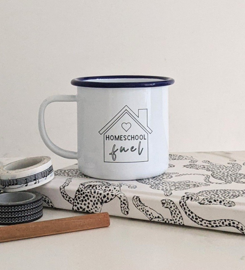 Homeschool Fuel - Engraved Enamel Mug - One Mama One Shed