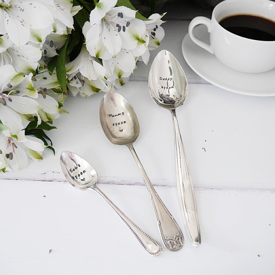 Daddy, Mummy and Baby - Hand Stamped Engraved Spoons - Vintage Trio of Spoons - One Mama One Shed