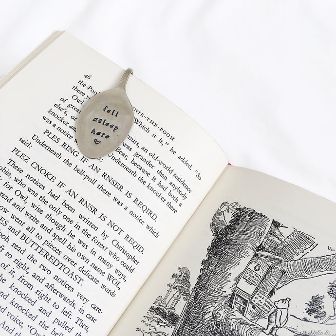 Fell Asleep Here - Vintage Hand Stamped Teaspoon Book Mark/Page Clip - One Mama One Shed