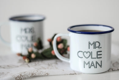 Mr and Mrs - Engraved Enamel Mugs - One Mama One Shed