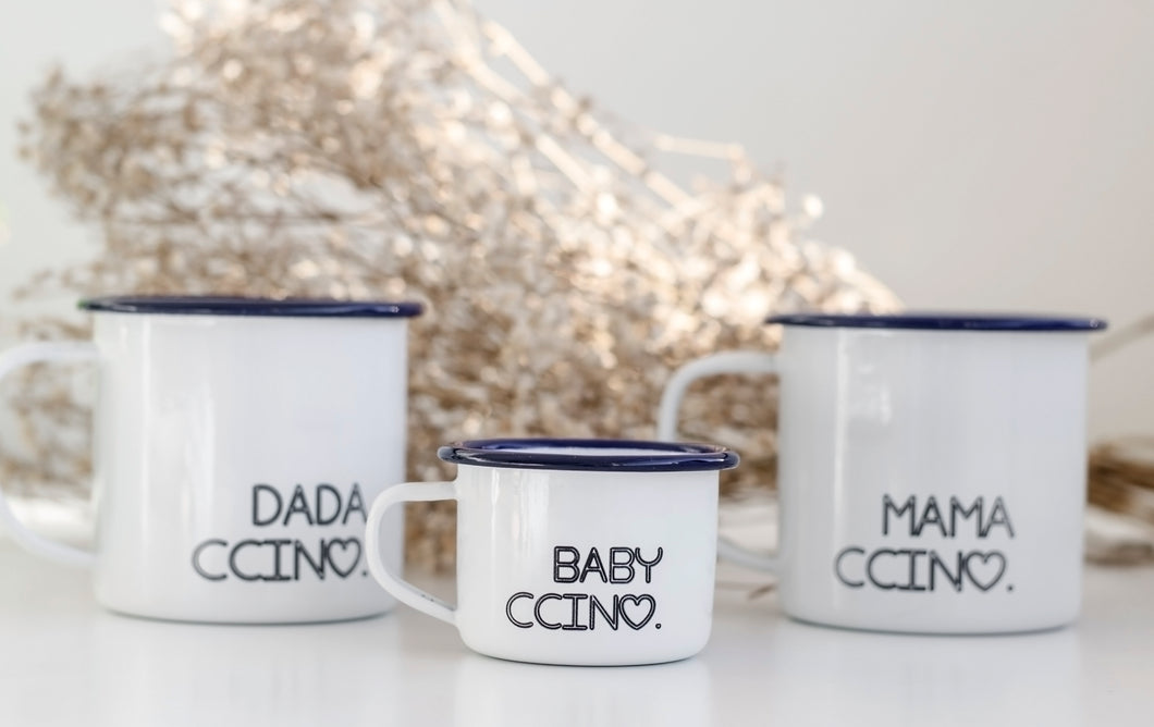 The Ccino Family - Personalised Mummy Daddy Baby Enamel Mugs - One Mama One Shed