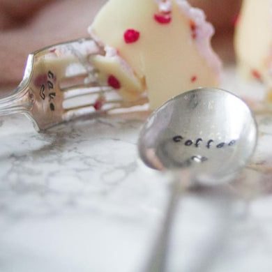 Coffee and Cake - Hand Stamped Vintage Coffee Spoon and Cake Fork - One Mama One Shed