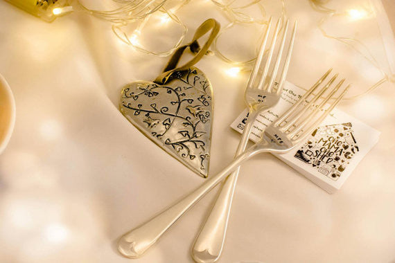 Mr and Mrs - Hand Stamped Vintage Forks - Anniversary Gift - One Mama One Shed