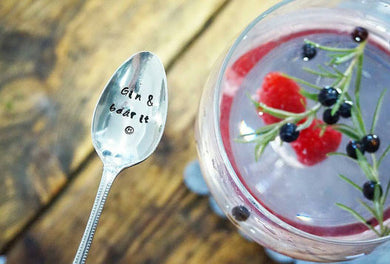 Gin & Bear It - Grin and Bear It - Hand Stamped  Gin Stirrer Swizzle Stick Spoon - One Mama One Shed