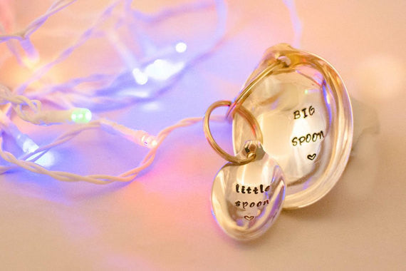 Big Spoon Little Spoon - Personalised Pair of Keyrings - Hand Stamped Engraved Vintage Spoons - One Mama One Shed