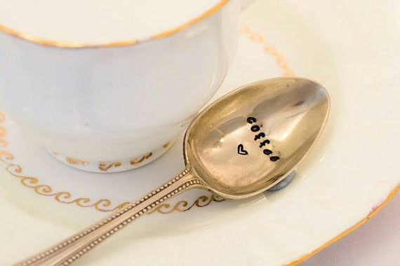 Coffee - Hand Stamped Vintage Coffee Spoon - One Mama One Shed