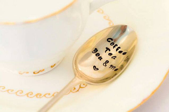 Coffee Tea You and Me - Hand Stamped Vintage Coffee Spoon - One Mama One Shed