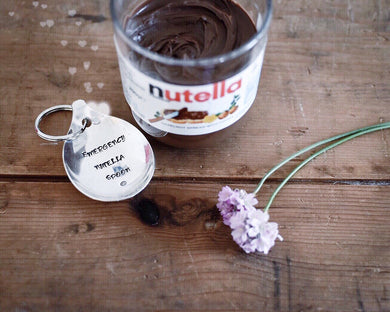 Emergency Nutella Spoon - Handstamped Spoon Keyring - One Mama One Shed