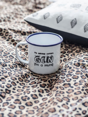 This Definitely Contains Gin - Engraved Enamel Mug - One Mama One Shed