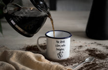 Hot drink, Warm socks, Instagram - Engraved Enamel Mug - One Mama One Shed