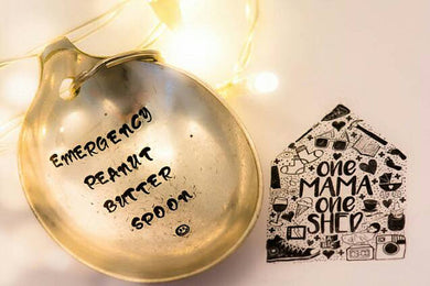 Emergency Peanut Butter  Spoon - Handstamped Spoon Keyring - One Mama One Shed