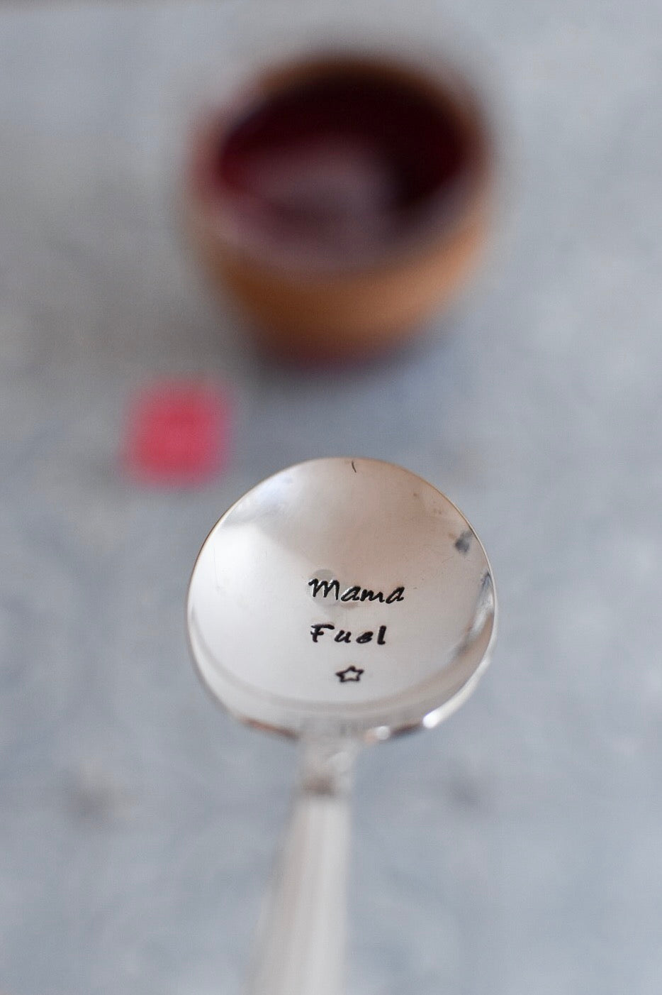Mama Fuel - Hand Stamped Vintage Tea Spoon - One Mama One Shed