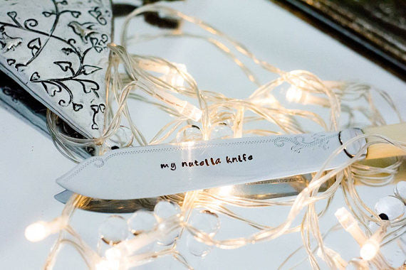 My Nutella Knife - Hand Stamped Vintage Knife - One Mama One Shed