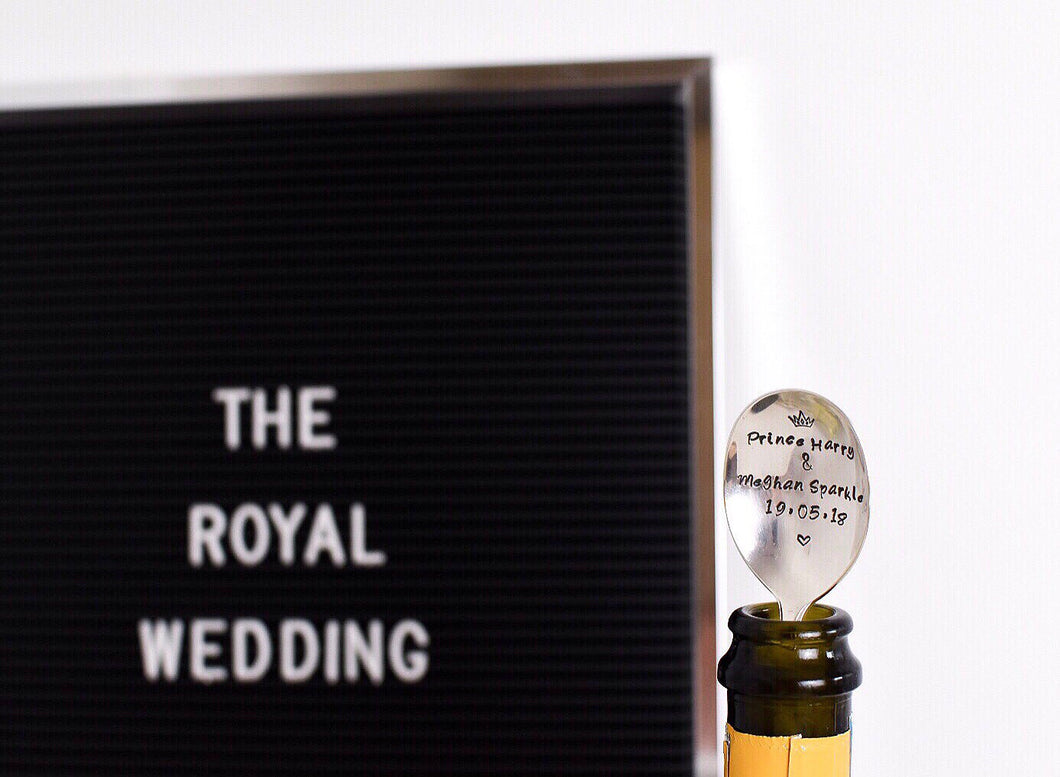 Prince Harry & Meghan Sparkle - Royal Wedding Commemorative Bottle Stopper Spoon - Prosecco and Champagne Bottle Stopper Spoon - One Mama One Shed