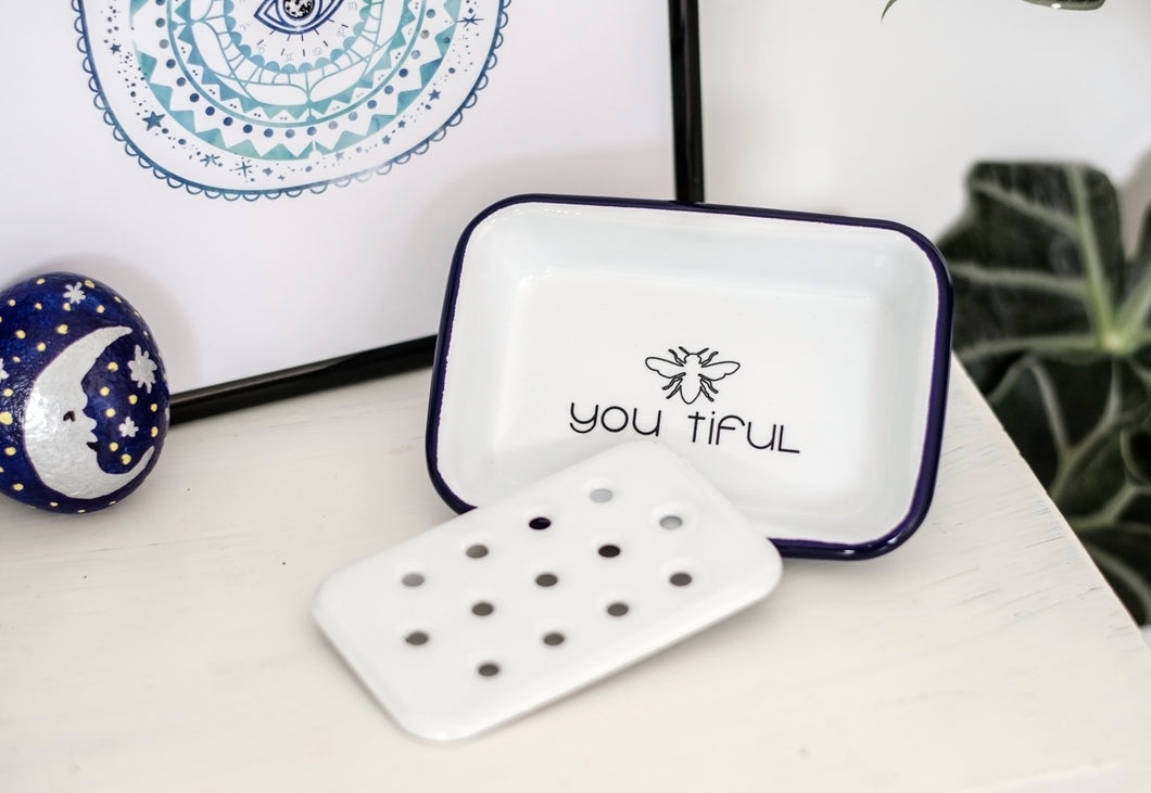 Bee You Tiful - Engraved Enamel Soap Dish/Trinket Dish - One Mama One Shed