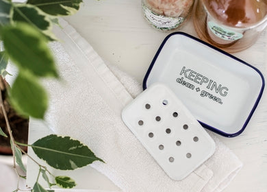 Keeping Clean + Green - Engraved Enamel Soap Dish - One Mama One Shed