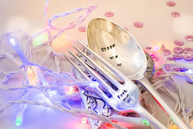 Spoon Me and Fork Me - Pair of Hand Stamped Engraved Spoon and Fork - Vintage Table Spoon - One Mama One Shed