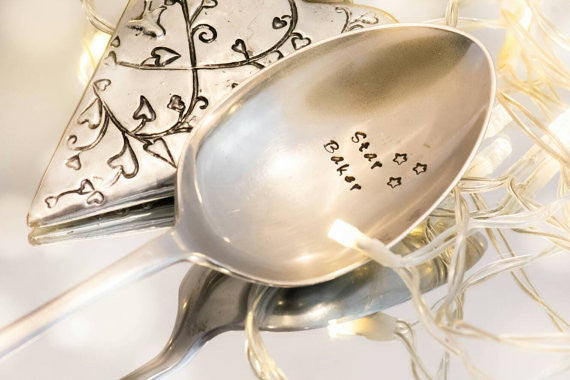 Star Baker - Hand Stamped Vintage Serving Spoon - One Mama One Shed