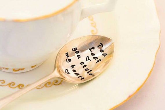 Tea Leaf You Stole My Heart - Hand Stamped Engraved Spoon - Vintage Tea Spoon - One Mama One Shed