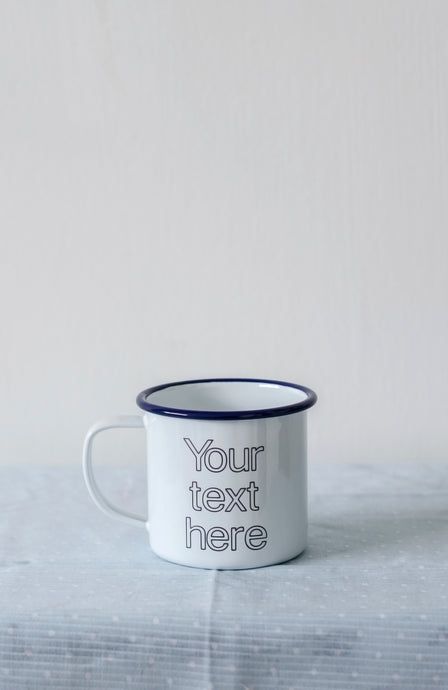 Your Text Here - Engraved Enamel Mug - One Mama One Shed