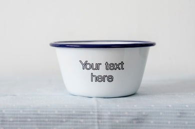 Your Text Here - Engraved Enamel Snack Bowl/Planter - One Mama One Shed