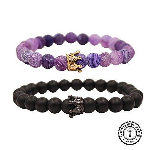 King & Queen Crown Bracelet Sets: (5 different Styles) - Uptown Ties