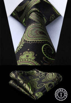Dark Green Paisley: 2pc Set - Uptown Ties