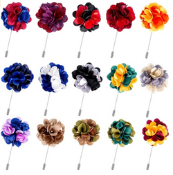 15 Pieces Men's Lapel Pin Handmade Satin Flower