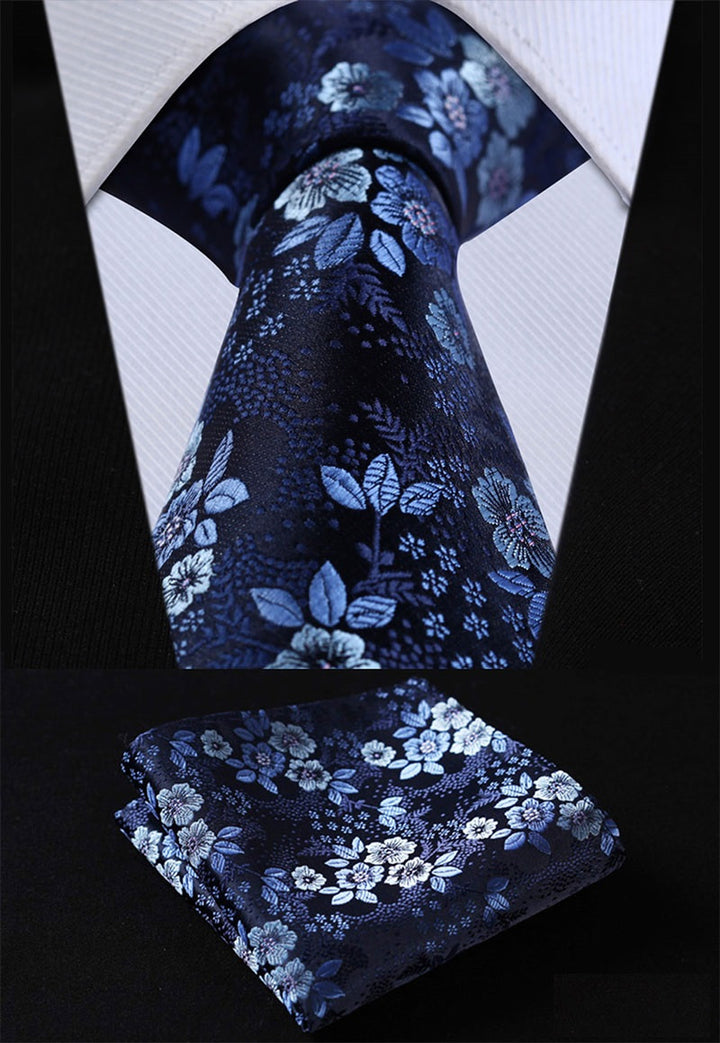 Blue Floral (XL): 2pc Set - Uptown Ties
