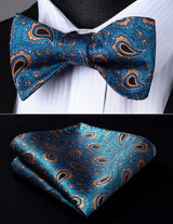 Aqua/Orange Paisley: 2pc Set - Uptown Ties
