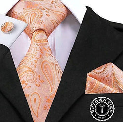 Florida Orange - w/ Pocket Square & Cufflinks - Uptown Ties