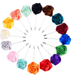 16 Pieces Flower Men's Lapel Pins Handmade Satin - Uptown Ties