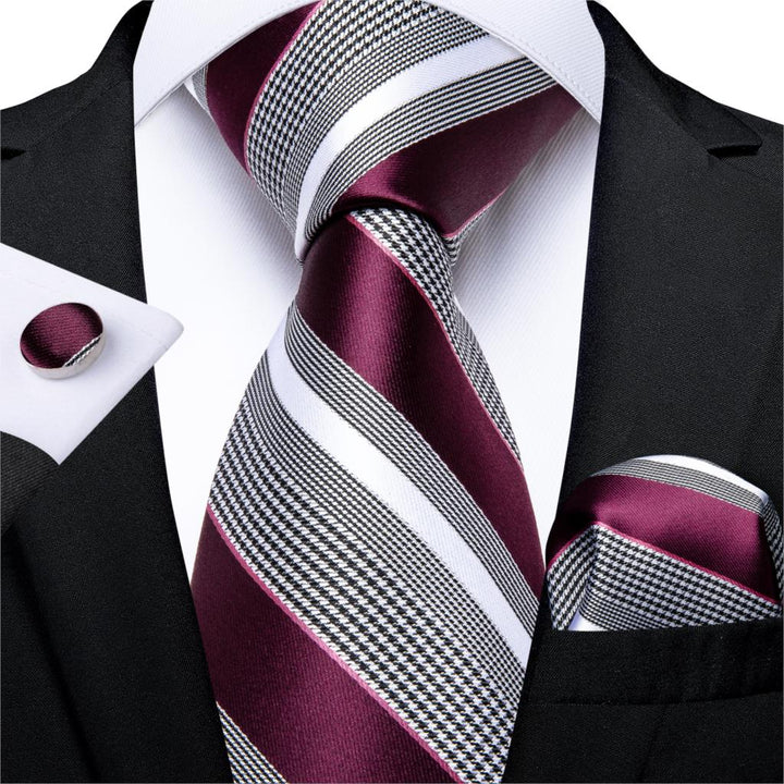 Red Wine Stripe: 3pc - Uptown Ties