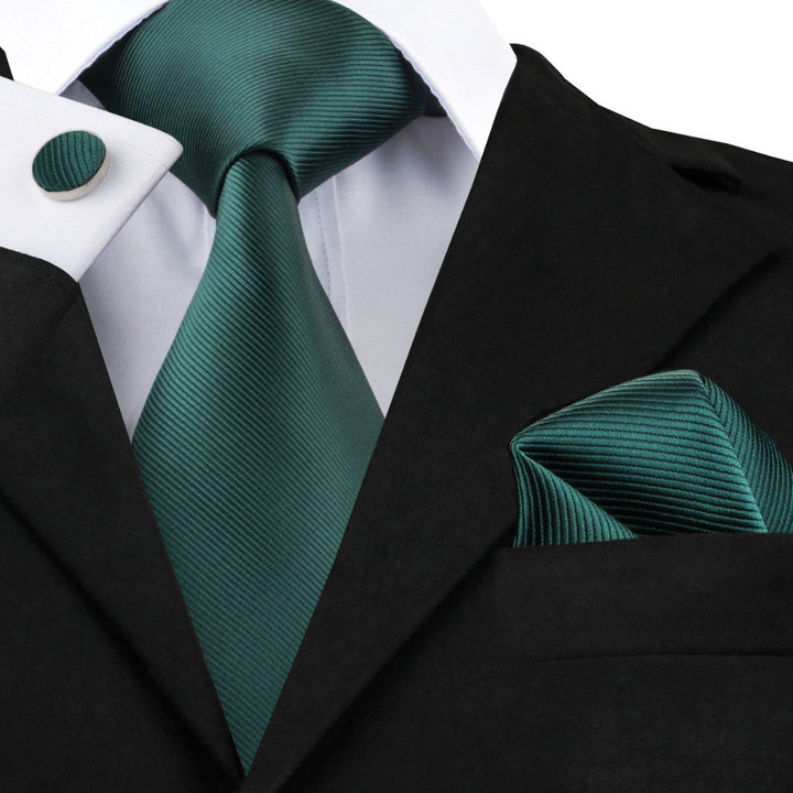 Dark Green Solid- w/ Pocket Square & Cufflinks - Uptown Ties