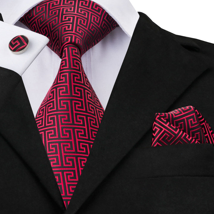 The Maze - w/ Pocket Square & Cufflinks - Uptown Ties
