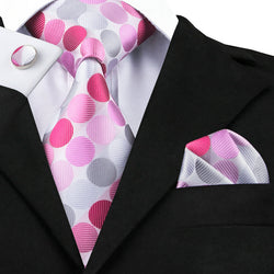 Circled Pink - w/ Pocket Square & Cufflinks - Uptown Ties