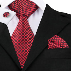 Red Squares: 3pc Set - Uptown Ties