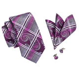 Paisley Crisscross Purple - w/ Pocket Square - Uptown Ties
