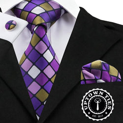 Purple Squares: 3pc Set - Uptown Ties