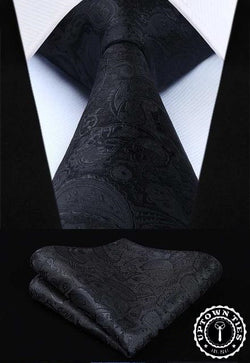 Black Paisley: 2pc Set - Uptown Ties