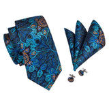 Hot Blue Peacock: 3pc - Uptown Ties