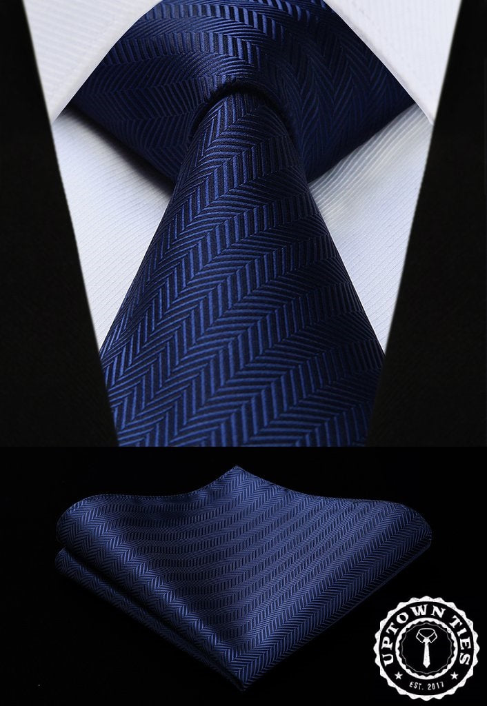 Blue Herringbone: 2pc - Uptown Ties