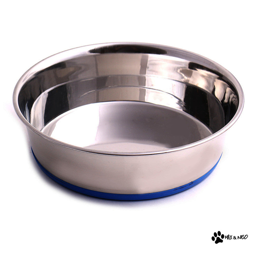 Stainless Steel Heavy Non Skid Dog Bowls Max And Neo Dog