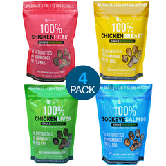 4 PACK Chicken and Sea Freeze Dried Dog Treats