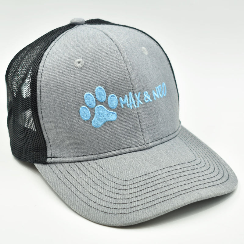 Max and Neo Gray on Black Trucker Baseball Cap