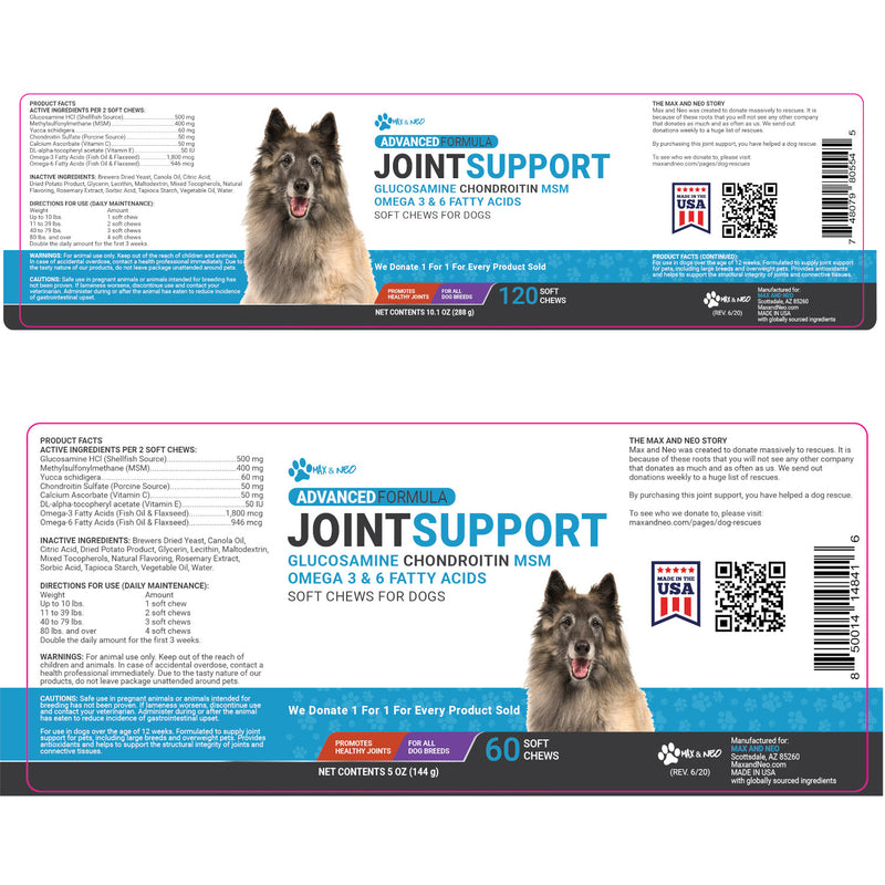 Joint Support Advanced Formula Soft Chews - Glucosamine, MSM, Chondtoitin, Omega 3 & 6